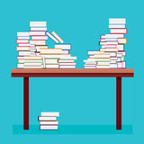 Pile of Books on a Wooden Table. Royalty Free Stock Images