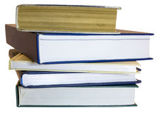 Pile of books and workbooks isolated Stock Photo