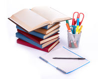 Pile of books, writing-book and pen Stock Image