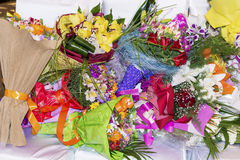 Pile of bouquets Stock Photos