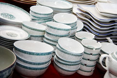 A pile of bowls displaying Royalty Free Stock Photos