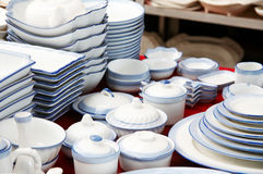 A pile of bowls and plates Stock Image