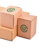 Pile of boxes. Pile of closed boxes on white Stock Photo
