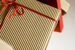Pile of boxes. Pile of brown and red boxes Royalty Free Stock Images