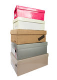 Pile of boxes. Pile of shoe cardboard boxes isolated on white with clipping path Royalty Free Stock Photo