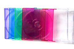 Pile boxes mini cd. Some color boxes in stack Royalty Free Stock Photos