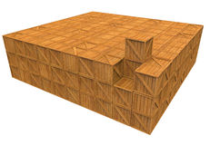 Pile of boxes with one pulled out (isolated on whi Royalty Free Stock Image