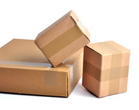 Pile of boxes - path. Pile of closed boxes on white with path Royalty Free Stock Photography