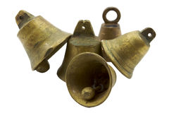 Pile of brass bells Stock Photos