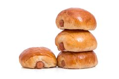 Pile of breads isolated on white background. Royalty Free Stock Images
