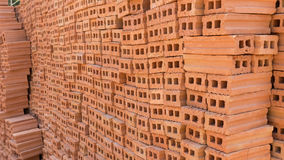 Pile of brick block used for industrial in residential Royalty Free Stock Photography