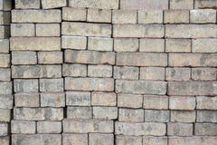 Pile of brick blocks used for flooring and walk way Stock Photos