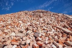 Pile of bricks. Pile of different used bricks in demolition waste recycling site Stock Images