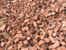 Pile of bricks. From a building demolition Royalty Free Stock Photo