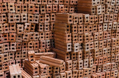 Pile of bricks for construction royalty free stock photo