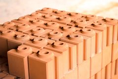 Interlocking bricks. A pile of bricks, interlocking Royalty Free Stock Photo