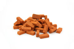 Pile of bricks isolated. On white background royalty free stock images