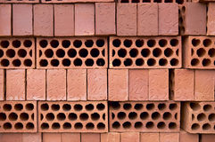 Pile of bricks on pallet Royalty Free Stock Photography