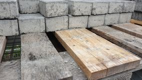 Pile of bricks on pallet stock image
