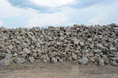 Pile of bricks under the sky Royalty Free Stock Image