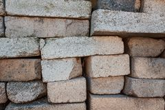 A pile of bricks. Warehouse building materials stock image