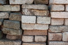 A pile of bricks. Warehouse building materials stock photography