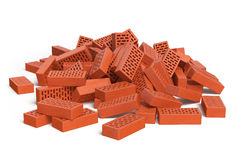 Pile of bricks  on white. Construction concept. Stock Photography