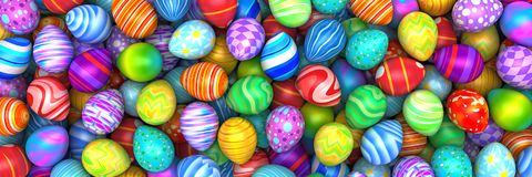 Pile of bright and colorful Easter Eggs. 3d render Stock Image