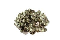 Pile of  bright metal thumbtacks Royalty Free Stock Photo