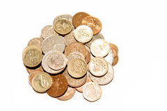 Pile of British coins Royalty Free Stock Images