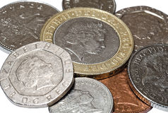 Pile of British coins closeup Stock Images