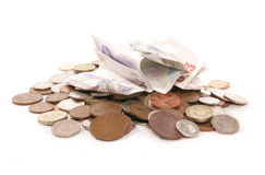 Pile of British currency money cutout. Pile of British currency money taken in a studio Royalty Free Stock Image