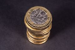 Pile of British One Pound Coins Royalty Free Stock Photo