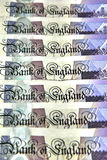 A pile of British pounds banknotes. A pile of British twenty pounds banknotes Stock Photography
