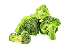 Pile of broccoli isolated on white background with clipping path. Green broccoli cabbage branches isolated on white with clipping path.healthy food concept Royalty Free Stock Image