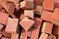 Pile of Broken Bricks Royalty Free Stock Image