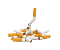 Pile of broken cigarettes. No smoking. Stock Photo