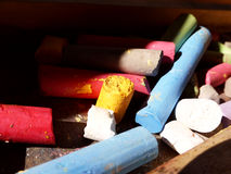 Pile of broken colored chalk Royalty Free Stock Image