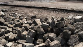 Pile of broken concrete. stock video