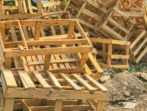 Pile of broken wooden pallet box. Outdoor pile of broken wooden pallet box Royalty Free Stock Images