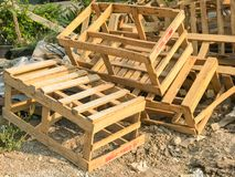 Pile of broken wooden pallet box. Outdoor pile of broken wooden pallet box Stock Photos