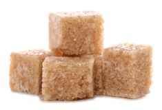 Pile of brown demerara sugar cubes Royalty Free Stock Photography