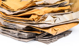 Pile of brown envelope and cardboard box Royalty Free Stock Photo