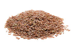 Pile of brown rice  on white Stock Photo