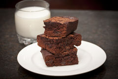 Pile of Brownies and Milk Stock Images