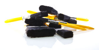 Pile of brushes on white Royalty Free Stock Photo