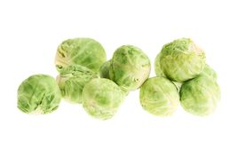 Pile of brussels sprouts isolated Royalty Free Stock Photography