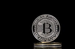 Pile of BTC Bitcoin coins. Pile of shining metal BTC bitcoin coins on black background Royalty Free Stock Photo