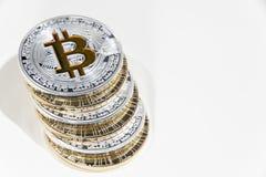 Pile of BTC Bitcoin coins Royalty Free Stock Photos
