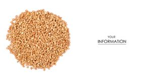 Pile of buckwheat groats pattern. On a white background, top view Stock Image